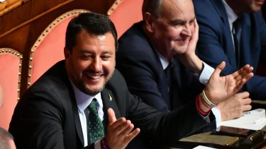 Italian Deputy PM Matteo Salvini in the Senate in Rome on Tuesday.