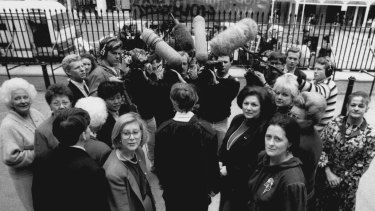 Beryl Evans, Dorothy Isaacson, Helen Sham-Ho, Meredith Burgman, Patricia Forsyth, Franca Arena, Anne Symonds, Delcia Kite and Judith Walker walk out of the parliamentary debate on the Rev. Fred Nile's anti-abortion bill in 1991.