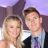 Amy Pejkovic and Adam Tomlinson at the Emirates Marquee in the Birdcage during Stakes Day at Flemington Racecourse, Melbourne, Saturday, November 11, 2017.