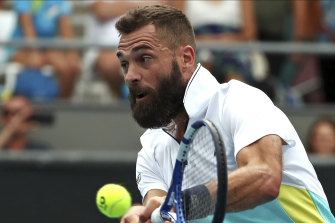 Frenchman Benoit Paire in action against Croatian Marin Cilic at the Australian Open in January.
