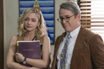 Pop culture nod to Ferris Bueller's Day Off: Matthew Broderick, right, stars in Daybreak, with Sophie Simnett.