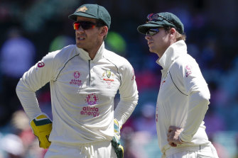 Tim Paine, left, and Steve Smith.
