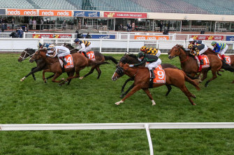 Sierra Sue, with Daniel Moor in the saddle, wins the Sir Rupert Clarke Stakes at Caulfield.