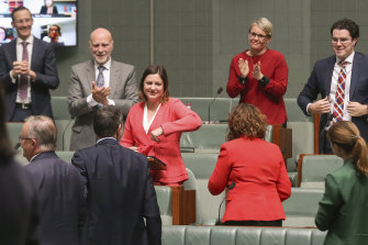 The newest MP, Kristy McBain of Eden-Monaro, has to settle for a new kind of congratulations for her maiden speech.