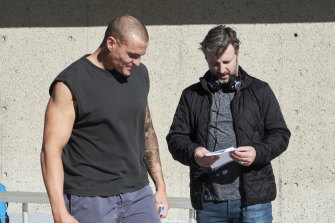 Writer-director Gregor Jordan, right on set with leading man Alexander Bertrand in 2018.