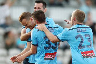 Alex Wilkinson can't believe his luck after his rare goal secured three points for Sydney FC.