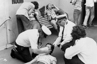 Fans were taken outside after fainting.