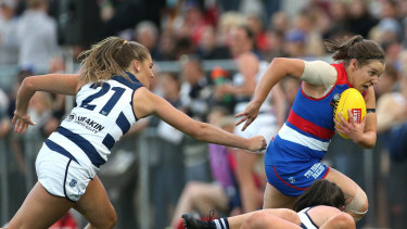 The Bulldogs are in Conference A, and comfortably beat Conference B's Geelong on Saturday night.