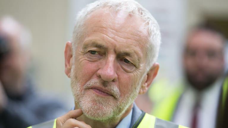 Britain's Labour leader Jeremy Corbyn during a visit to the Alexander Dennis bus manufacturer, in Falkirk, Scotland.