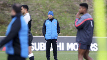 Task master: Eddie Jones oversees an England training session.