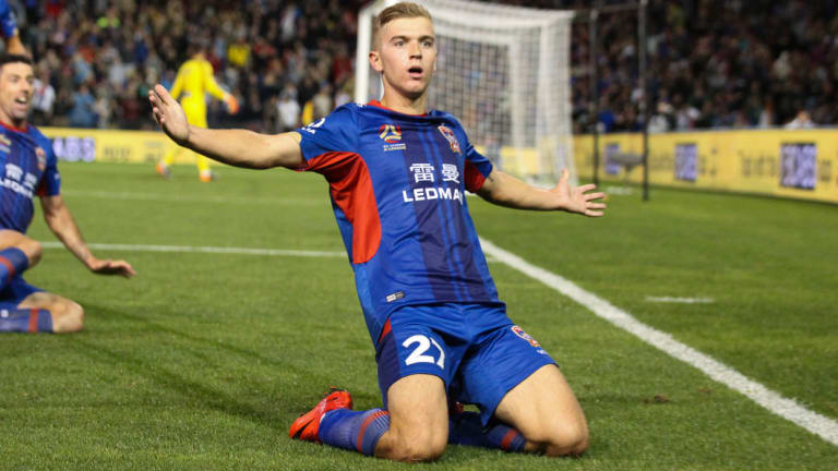 Stunner: Riley McGree celebrates his goal.