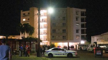 Police cordon off Palms Motel in Darwin.