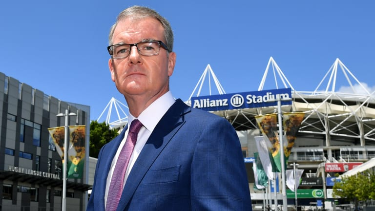 NSW Labor leader Michael Daley speaks to the media outside Allianz Stadium.