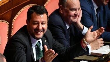 Italian Deputy PM Matteo Salvini in the Senate in Rome on Tuesday.