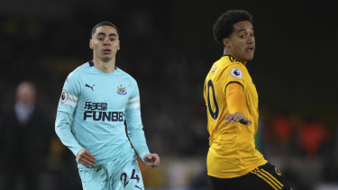 Debut: Newcastle's record signing Miguel Almiron (left) made his debut from the bench.