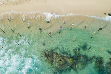 Sri Lankan fishermen photographed with a drone camera.