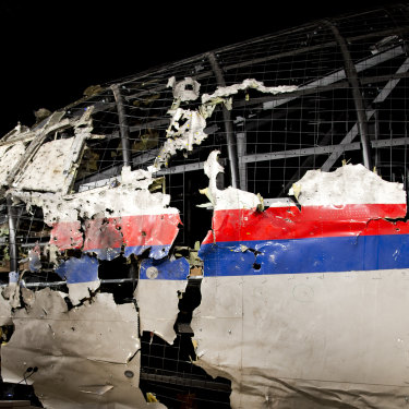 The reconstructed wreckage of Malaysia Airlines Flight MH17.