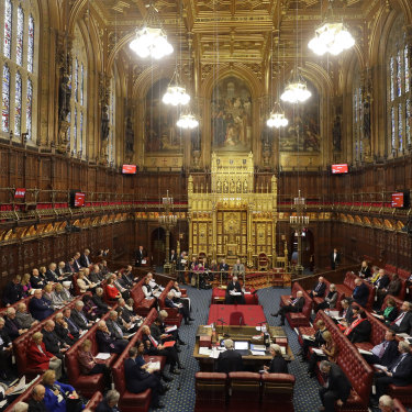 The House of Lords inside the magnificent neo-Gothic palace.