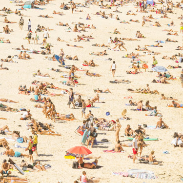 Sunbathing at Bondi. The five-year survival rate for patients with advanced melanoma has risen to 50 per cent.