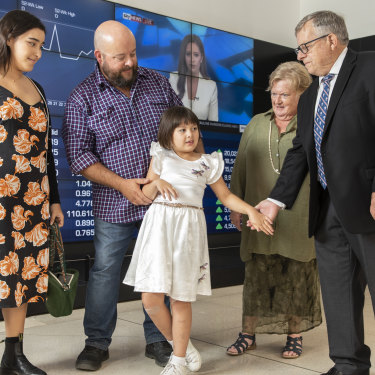 Katelyn Lambert, at centre, with (from left), sister Laura, father Michael and grandparents Joy and Barry.