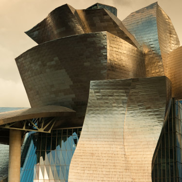 The facade of the Guggenheim museum in Bilbao, Spain, is covered in titanium.