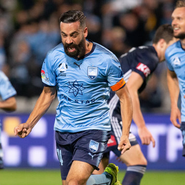 Still got it: Sydney FC veteran Alex Brosque celebrates scoring the second goal of six in the Sky Blues' big win over Melbourne Victory.
