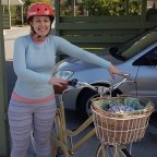 A dorky picture of me with my first (adult) bike, 2.5 years ago, when cycling to work was new and scary and we still had a car.