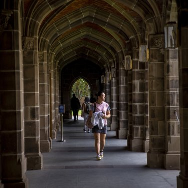 Many classes at Melbourne University are still exclusively online and the campus is quiet.