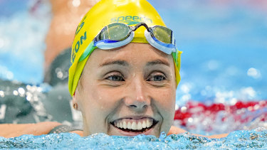 Emma McKeon after winning 50m freestyle gold on the final day of swimming in Tokyo.