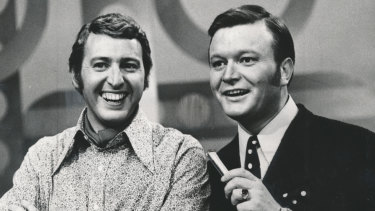 Jimmy Hannan with Bert Newton in 1976.