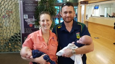 Samantha Hacon and Tim Pearson with their twin boys