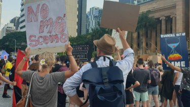 The target of the protests made clear in Brisbane.