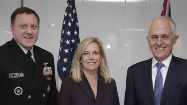 Michael Rogers, then director of the National Security Agency (left) with then prime minister Malcolm Turnbull and then Secretary of Homeland Security Kirstjen Nielsen (centre) in Washington, DC, in 2018.