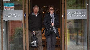 Richard and Pat Wood leaving hospital on Tuesday.
