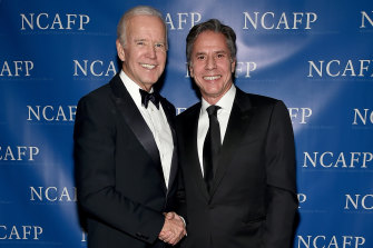Joe Biden with the man he picked to be the next US secretary of state, Tony Blinken, in 2017.