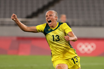 Tameka Yallop celebrates her goal