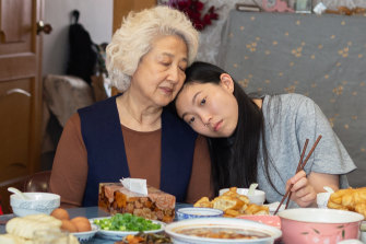 Globe hopeful: Awkwafina playing the granddaughter to her dying grandmother (Zhao Shuzhen) in The Farewell.