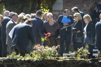 Judy Moran at the funeral of her husband Lewis.