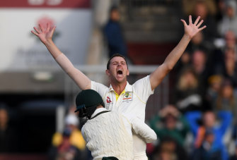 Josh Hazlewood claims the final wicket of Craig Overton to win the fourth Test to give the match – and the Ashes – to Australia.