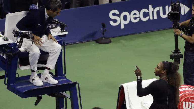 Livid: Serena Williams berated chair umpire Carlos Ramos through the straight-sets defeat.
