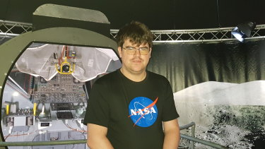 Archive film producer Stephen Slater at the NASA - A Human Adventure exhibit at the Queensland Museum.