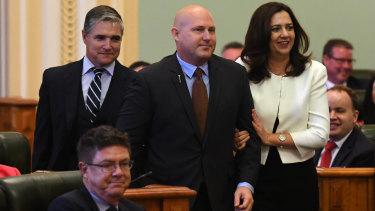 (From left) KAP state leader Robbie Katter, Speaker Curtis Pitt and Premier Annastacia Palaszczuk.