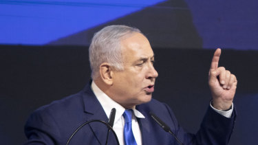 Benjamin Netanyahu, Israel's prime minister, speaks at the Likud party headquarters in Tel Aviv,