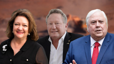 Australia's mining billionaires made astonishing gains in wealth last year, propelling Gina Rinehart to the top of the rich list with Andrew Forrest (middle) in second place.  Clive Palmer (right) doubled his wealth to more than $9 billion.