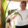 Rachel Okell waters one of 70 indoor plants at her home.