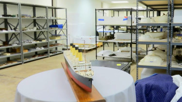 Artefacts recovered from around Titanic sit on shelves at a storage facility in Atlanta.