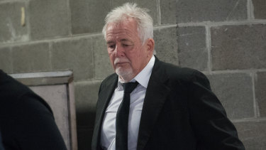 Developer John Woodman leaving an IBAC hearing in 2019.