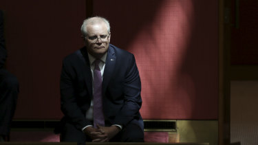 Scott Morrison sits in the Senate to watch Mathias Cormann deliver his valedictory speech in October.