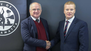 Mark Stapleton, right, with Parramatta mayor Andrew Wilson, left.