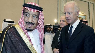 In 2011, then US vice-president Joe Biden, right, offers his condolences to then Prince Salman bin Abdel-Aziz in Riyadh, Saudi Arabia.